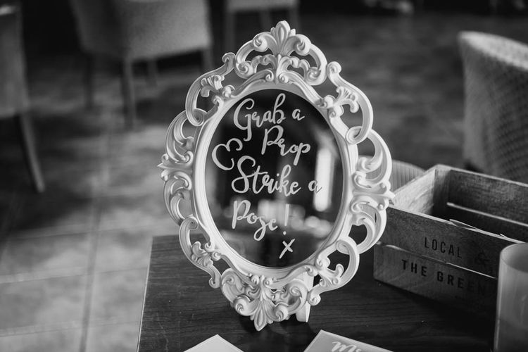 Mirror Wedding Sign | | Cooling Castle Barn Wedding | Michelle Cordner Photography
