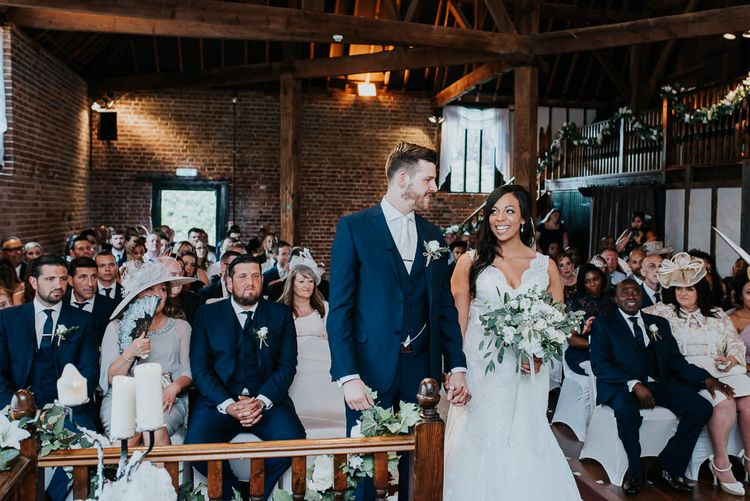 Wedding Ceremony | Bride in Mori Lee Gown | Groom in Ted Baker Suit from Moss Bros | Cooling Castle Barn Wedding | Michelle Cordner Photography