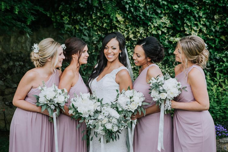 Bridesmaids in Dusky Pink Dresses | Bride in Mori Lee Gown | Cooling Castle Barn Wedding | Michelle Cordner Photography