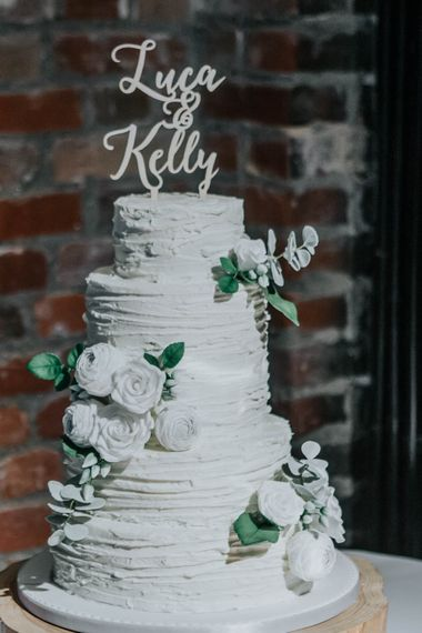 All White Frosted Wedding Cake | | Cooling Castle Barn Wedding | Michelle Cordner Photography