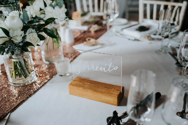White Perspex Table Name Signs | Cooling Castle Barn Wedding | Michelle Cordner Photography