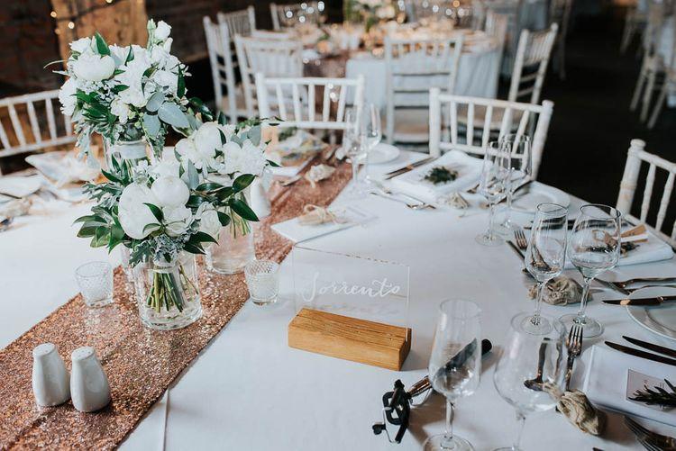 Gold Glitter Table Runner, White & Greenery Flowers Table Decor | Cooling Castle Barn Wedding | Michelle Cordner Photography