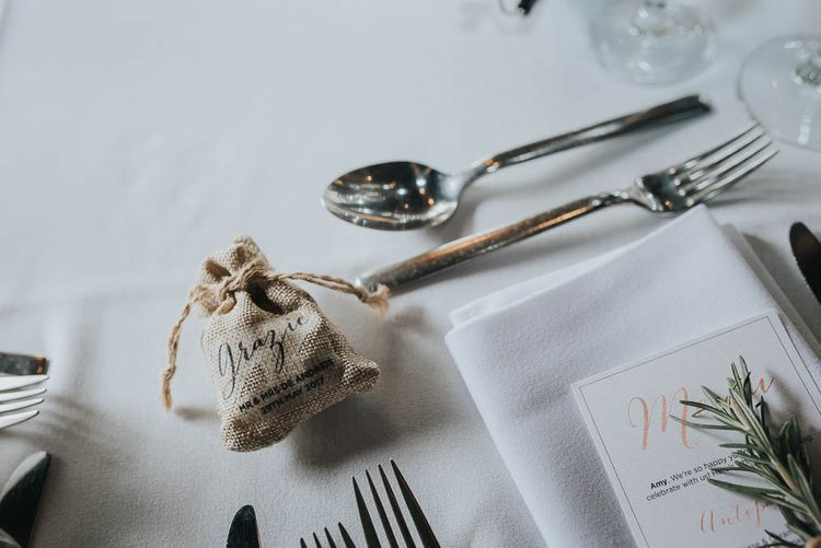 Hessian Pouch Wedding Favour | Cooling Castle Barn Wedding | Michelle Cordner Photography