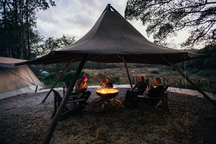 Firepit | Bohemian Tipi Wedding Weekend at Fforest, Wales | Naomi Jane Photography