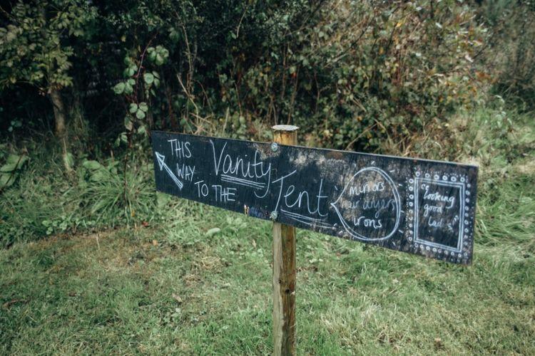 Wedding Sign | Bohemian Tipi Wedding Weekend at Fforest, Wales | Naomi Jane Photography