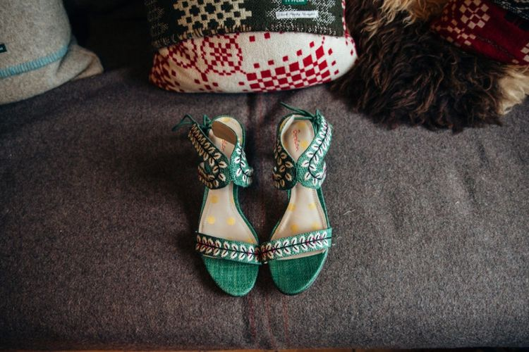 Green Boden Wedding Shoes | Bohemian Tipi Wedding Weekend at Fforest, Wales | Naomi Jane Photography