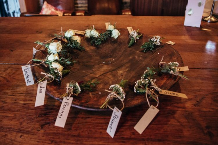 Buttonholes | Bohemian Tipi Wedding Weekend at Fforest, Wales | Naomi Jane Photography