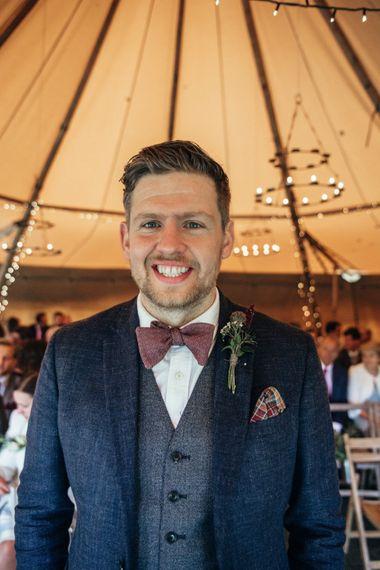 Groom in Reiss Waistcoat & Blazer | Bohemian Tipi Wedding Weekend at Fforest, Wales | Naomi Jane Photography