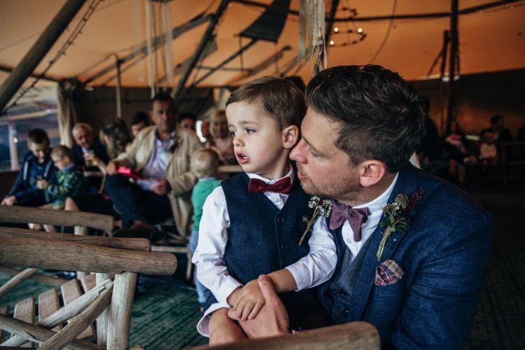 Father & Son | Groom in Reiss Waistcoat & Blazer | Bohemian Tipi Wedding Weekend at Fforest, Wales | Naomi Jane Photography