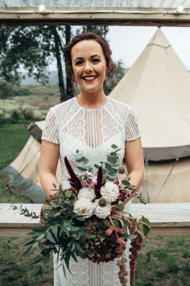 Bride in Lenora Watters Wtoo Lace Gown | Bohemian Tipi Wedding Weekend at Fforest, Wales | Naomi Jane Photography