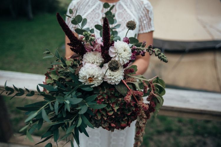 Oversized Dahlia Bouquet | Bride in Lenora Watters Wtoo Lace Gown | Bohemian Tipi Wedding Weekend at Fforest, Wales | Naomi Jane Photography