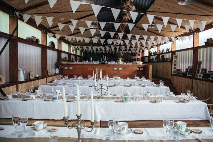 Bunting Reception | Bohemian Tipi Wedding Weekend at Fforest, Wales | Naomi Jane Photography