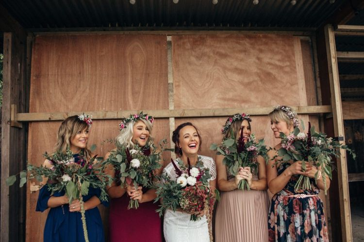 Bridesmaids in Different Dresses | Bride in Lenora Watters Wtoo Gown | Bohemian Tipi Wedding Weekend at Fforest, Wales | Naomi Jane Photography