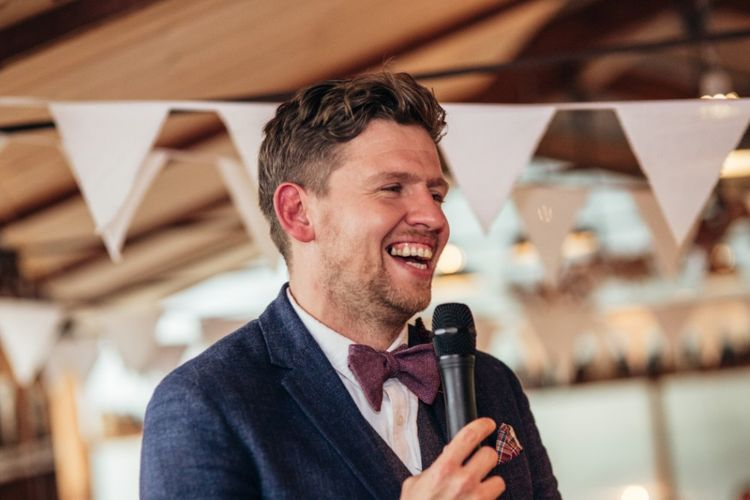 Groom in Reiss Blazer & Bow Tie | Bride in Lenora Watters Wtoo Gown | Bohemian Tipi Wedding Weekend at Fforest, Wales | Naomi Jane Photography