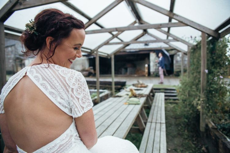 Bride in Lenora Watters Wtoo Gown | Bohemian Tipi Wedding Weekend at Fforest, Wales | Naomi Jane Photography