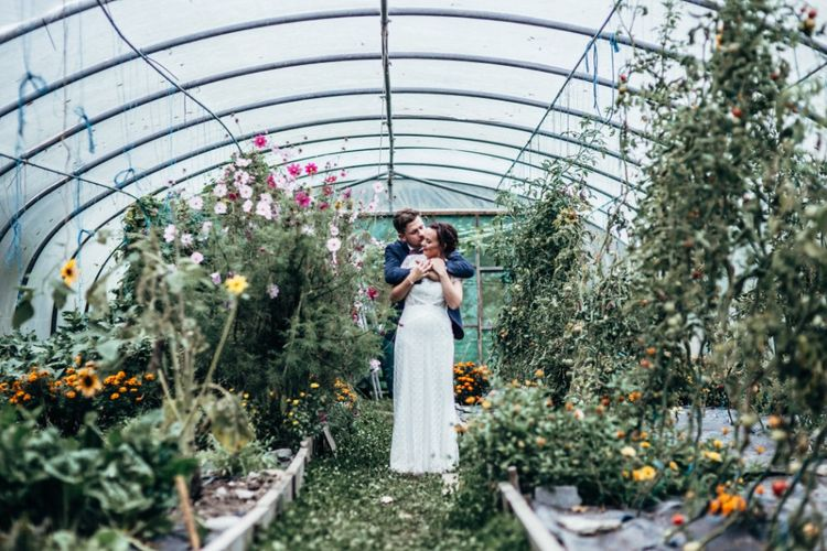 Bride in Lenora Watters Wtoo Lace Bridal Gown | Groom in Ted Baker Chinos & Reiss Waistcoat & Blazer | Bohemian Tipi Wedding Weekend at Fforest, Wales | Naomi Jane Photography
