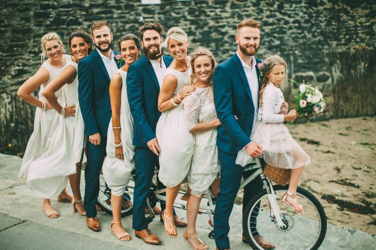 Wedding Party on Tandem Bicycle