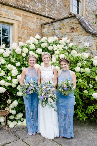 Bridesmaids In Sky Blue Dresses // Yolan Cris Bride For A Stylish Boho Wedding At Axnoller Dorset Floral Arch Jennifer Poynter With Images From Lydia Stamps Photography