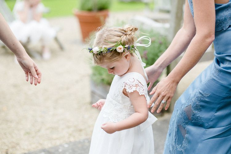 Flower Girl In White Dress // Yolan Cris Bride For A Stylish Boho Wedding At Axnoller Dorset Floral Arch Jennifer Poynter With Images From Lydia Stamps Photography