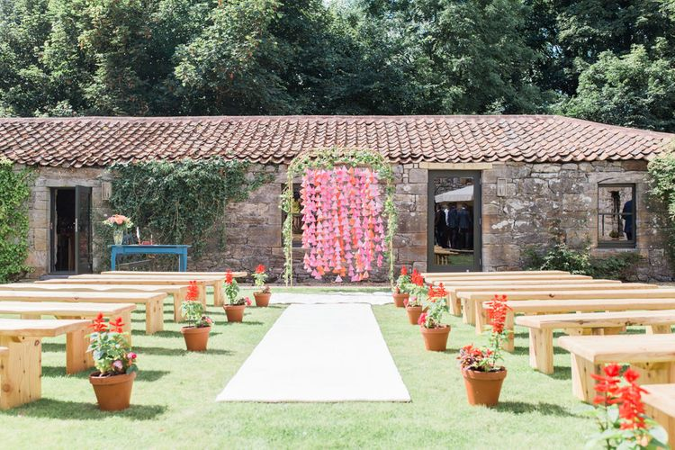 Outdoor Wedding With Bright Pink Decor