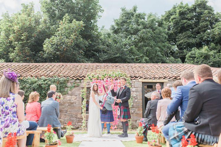 Outdoor Wedding Ceremony In Scotland At Windmill Barn