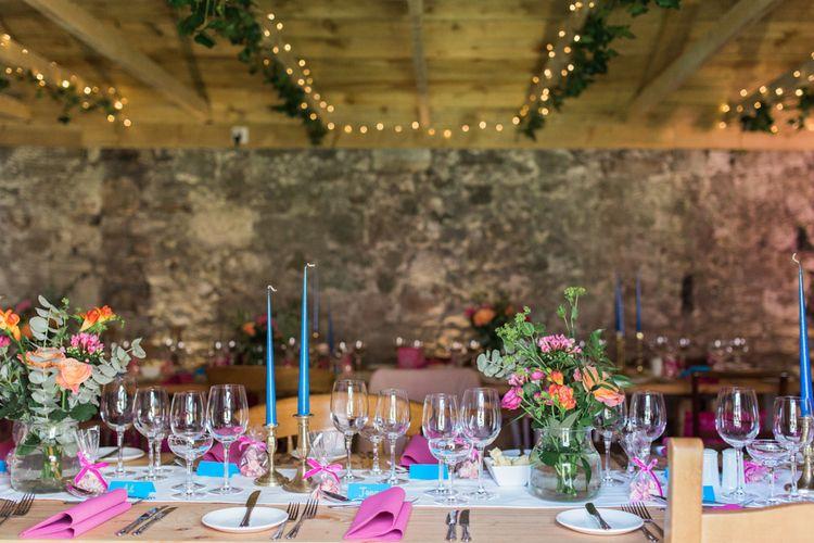 Wedding With Bright Pink & Blue Colour Scheme