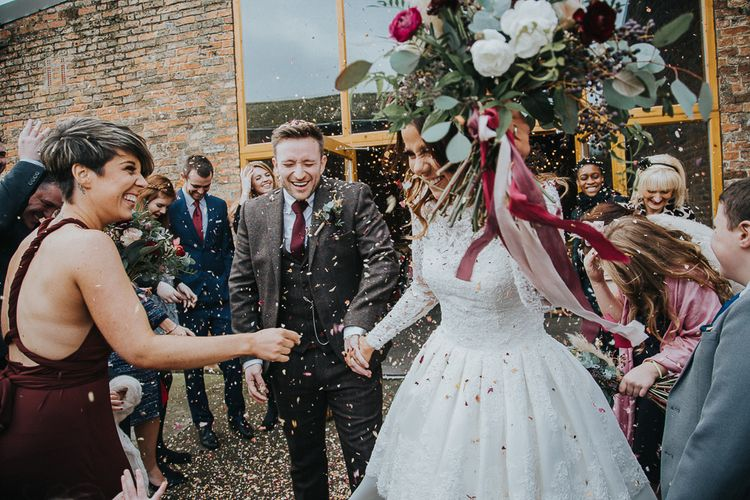 Rustic Autumn Wedding At Barmbyfields Barn With Bride In Ellis Bridal Tea Length Dress & Flowers By Number 27 Floral Design With Images From Emma Maddocks Photography