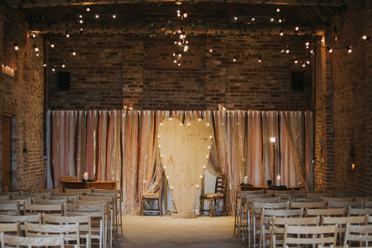 Wooden Heart Aisle Backdrop For Rustic Wedding In Barn