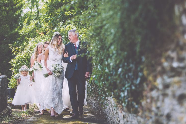 Boho Luxe Wedding Tredudwell Manor Cornwall With Flower Girls In White With Gypsophila Crowns And Images From Nick Bailey