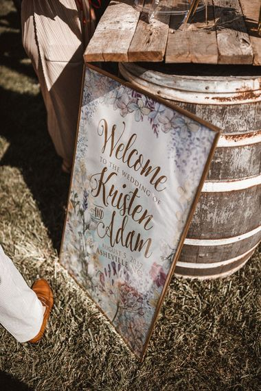 Wedding Sign   Outdoor Wedding at Claxton Farm in Weaverville, North Carolina   Benjamin Wheeler Photography