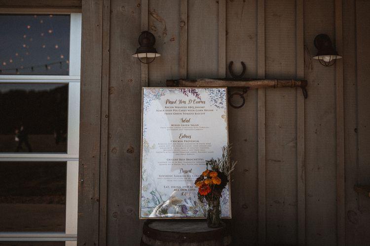 Wedding Menu Sign   Outdoor Wedding at Claxton Farm in Weaverville, North Carolina   Benjamin Wheeler Photography