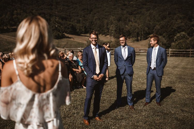 Groom at the Altar in Ted Baker Suit   Outdoor Wedding at Claxton Farm in Weaverville, North Carolina   Benjamin Wheeler Photography