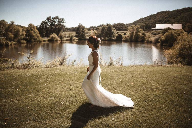 First Look with Bride in Lace Venus Bridal Gown   Outdoor Wedding at Claxton Farm in Weaverville, North Carolina   Benjamin Wheeler Photography