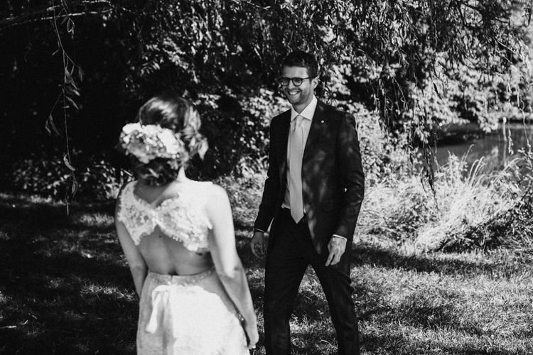 First Look   Bride in Lace Venus Bridal Gown   Groom in Ted Baker Suit   Outdoor Wedding at Claxton Farm in Weaverville, North Carolina   Benjamin Wheeler Photography