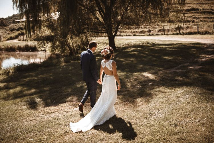 Bride in Lace Venus Bridal Gown   Groom in Ted Baker Suit   Outdoor Wedding at Claxton Farm in Weaverville, North Carolina   Benjamin Wheeler Photography