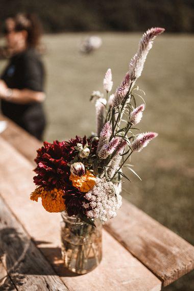 Wild Flowers in Jam Jars   Outdoor Wedding at Claxton Farm in Weaverville, North Carolina   Benjamin Wheeler Photography