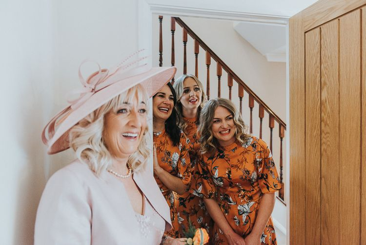 Orange Floral Bridesmaids Dresses