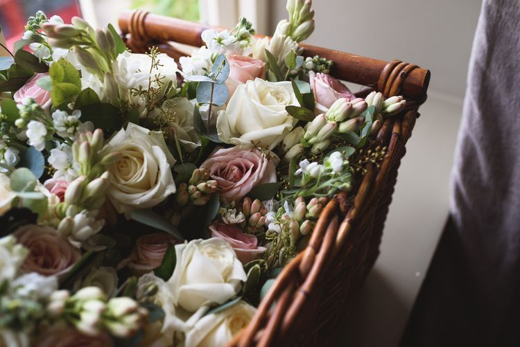 Blush Pink & White Rose Bouquets