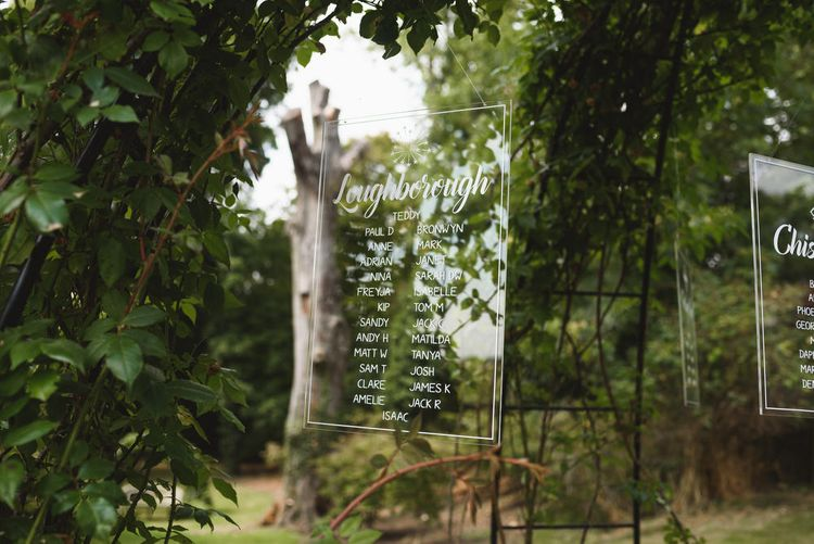 Etched Prespex Table Plan