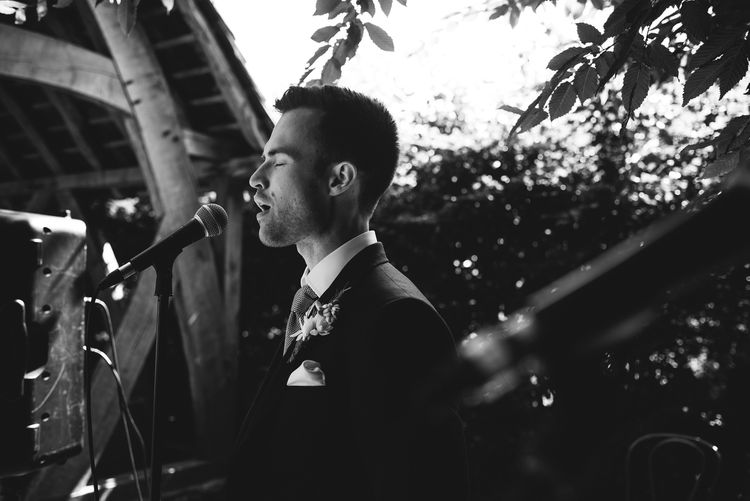 Groom in Ted Baker Suit at the Altar