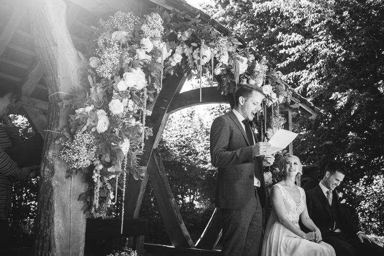 Bride & Groom Outdoor Wedding Ceremony at Cripps Barn