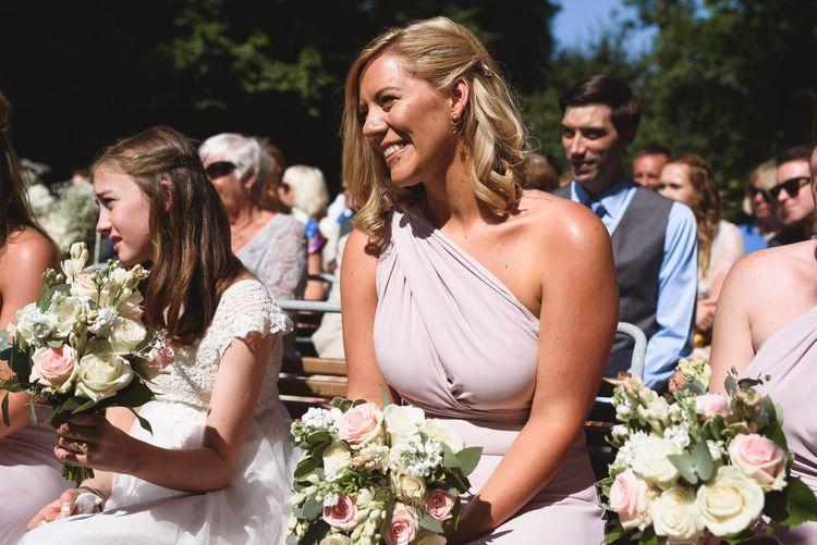 Bridesmaid in Blush Pink Maxi Corwin Coast Wrap Dress
