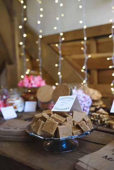 Fudge for the Dessert Table with Fairy Light Backdrop