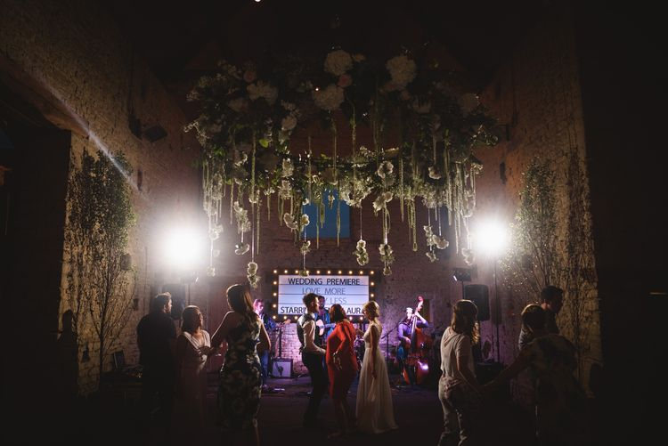 Evening Reception at Cripps Barn with Hanging Floral Decor