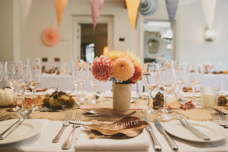 Autumnal Wedding Decor with Bunting & Dahlia Flowers