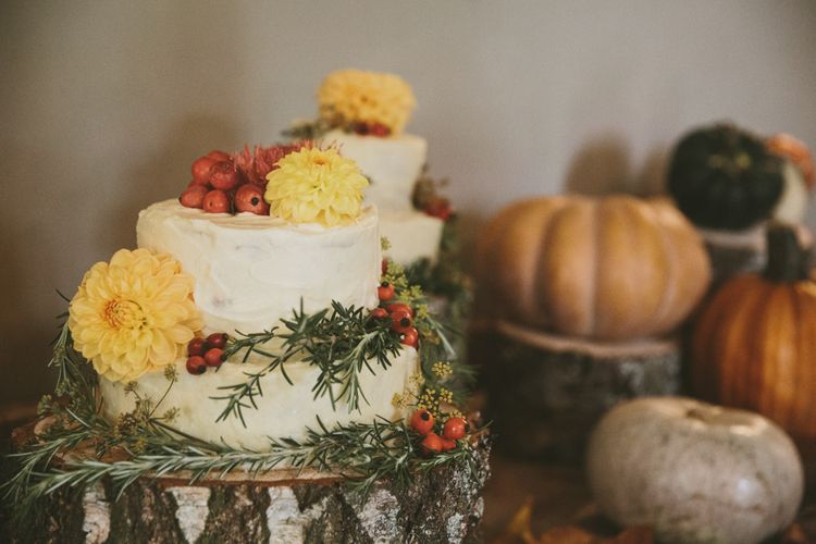 Rustic Wedding Cakes with Tree Stump Cake Stand