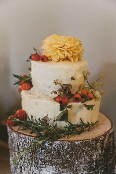 Rustic Wedding Cake on Tree Stump Cake Stand