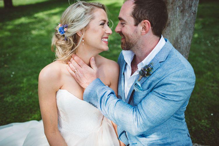 Bride in Lyn Ashworth Wedding Dress   Groom in Blue Jacket   Outdoor Wedding at Borgo Bastia Creti in Italy   Paolo Ceritano Photography