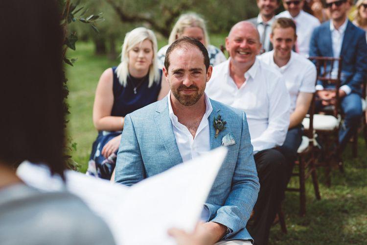 Groom on Light Blue Jacket   Outdoor Wedding at Borgo Bastia Creti in Italy   Paolo Ceritano Photography