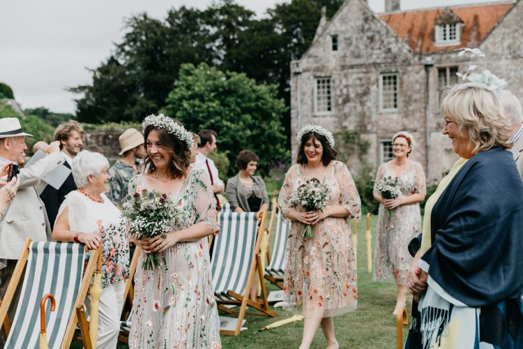 Bridesmaids In Embellished Floral Dresses